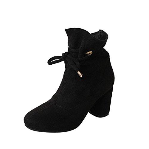 Voberry Stiefel, Damen Spring Casual Stiefel Outdoor Lace-Up Square Heel Knöchel Schuhe Schwarz