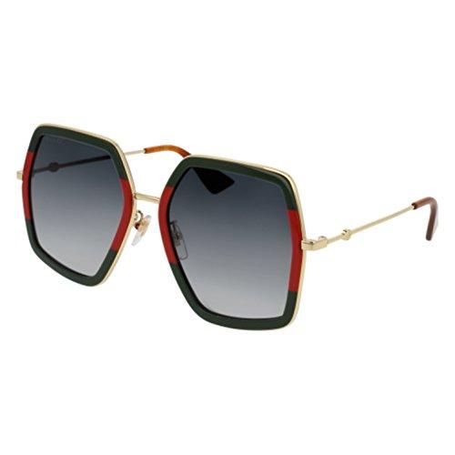 Gucci GG 0106 S- 007 GREEN / GREY GOLD Sunglasses