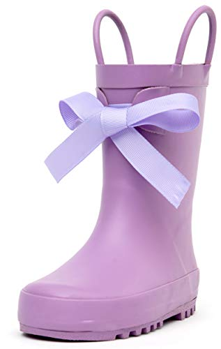 Outee Kids Toddler Girls Rain Boots Rubber Waterproof Shoes Purple Bowknot Cute with Easy On Handles (Size 13,Purple)
