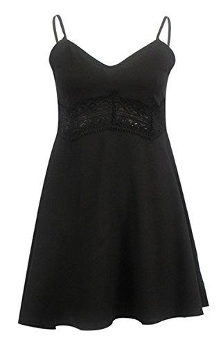 Vestidos de Mujer YOGLY Vestido de Verano Mujer Moda Vestido de Playa Hueco Patrón Mini Vestido Sin Mangas Clubwear negro