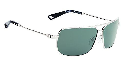 Spy Optic Leo Aviator Sunglasses, Silver & Happy Grey, 63 mm (Spy Sunglasses Crystal)