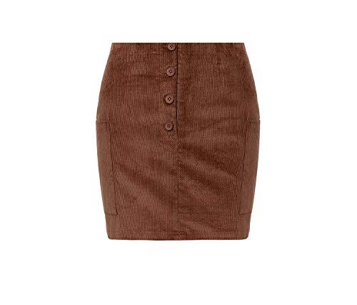rainwater-Shop Corduroy Single Breasted Pencil Skirts Autumn Winter Khaki Mini Skirt,Khaki,M
