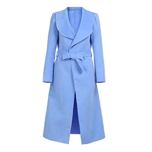 Parkas Moda Elegante Cinturón con Unicolor Abrigo Moderno Solapa Gabardina Modernas Invierno Windbreaker Larga Estilo De Manga Blau Mujer OE4w5q5