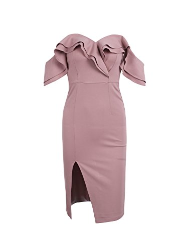 Simplee Sexy Off Shoulder Ruffle Midi Dress Party Evening Cocktal Bodycon Dress, Dark Pink, 8, Medium