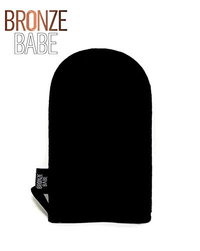 Bronze Babe Velvet Self-Tanning Applicator Mitt For An Even Streak-Free Sunless Tan Protects Hands From Stains When Applying Tanning Lotion- Washable And Reusable (Black)