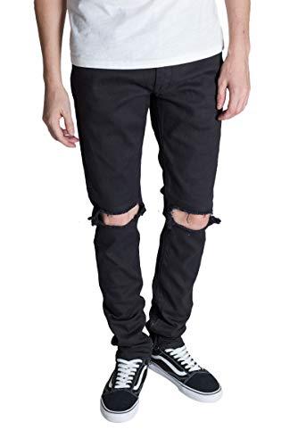 - KDNK Men's Tapered Skinny Fit Stretch Colored Denim Destroyed Knee Ankle Zip Jeans (28, Black)