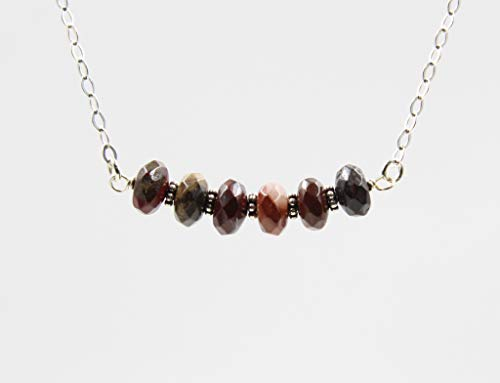 Dark Red Jasper Beaded Gemstone Bar Necklace for Women with 925 Sterling Silver Chain, 18 Inches