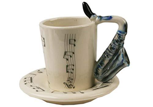 - Saxophone 2oz Blue Handmade Ceramic Espresso Cup (8cm x 5cm)