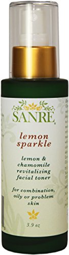SanRe Organic Skinfood - Lemon Sparkle - Organic Lemon and Chamomile Revitalizing Facial Toner For Oily/Combination to Acne Prone Skin (Best Facial Toner For Acne Prone Skin)