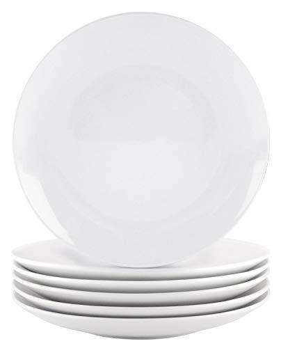 Bestone Dinner Plates White Porcelain Set of 6