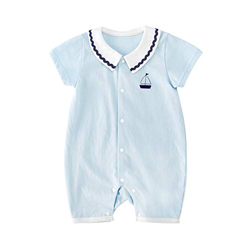 Collar Onesie - pureborn Baby Boys Collar Romper Sailboat Printing Short Sleeve Cotton Summer Onesies Blue 0-3 Months