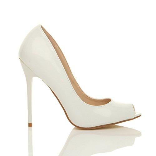 Pointure Haut Talon Blanc Bout Ouvert Sandales Femmes Chaussures Verni Fête Simple Escarpins 6zxqnFUw