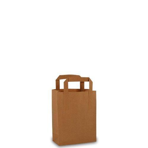 25 sacchetti di carta con manici, 18 x 8 x 22 cm, colore: marroncino LochnerVerpackung