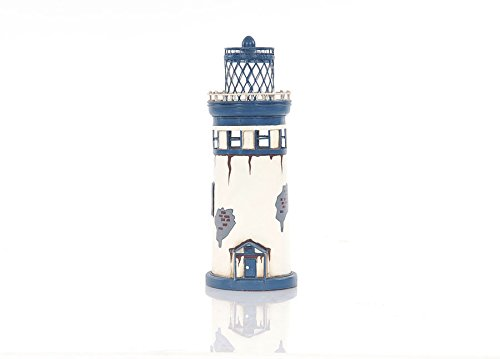 "Decorative Hand Painted Lighthouse Iron Metal Model 11"" Nautical Maritime Decor"