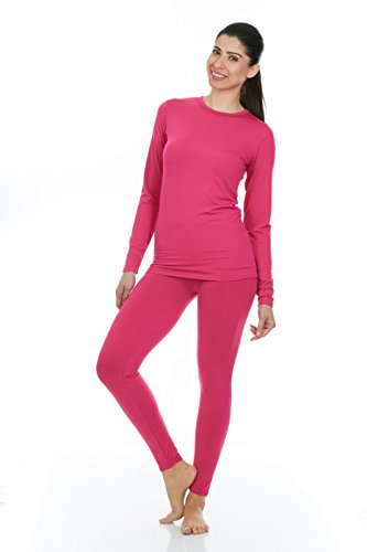 Thermajane Women's Ultra Soft Thermal Underwear Long Johns Set with Fleece Lined (Medium, Pink)