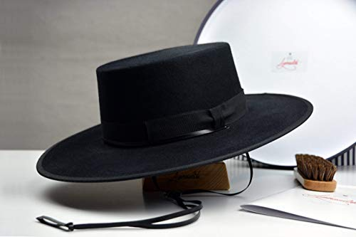 (The Gaucho - Black Rabbit Fur Felt Flat Crown Bolero Hat - Wide Brim - Men)