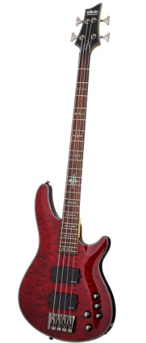 Crimson Bass (Schecter Damien Elite-4 4-String Bass Guitar, Crimson Red)