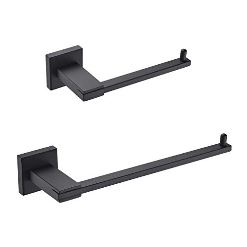 Hoooh 2-Piece Bathroom Accessories Set Matte Black SUS 304 Stainless Steel Wall Mount - Includes Towel Rings, Toilet Paper Holder, BS104S2-BK (Bathroom Accessories Luxury Sets)