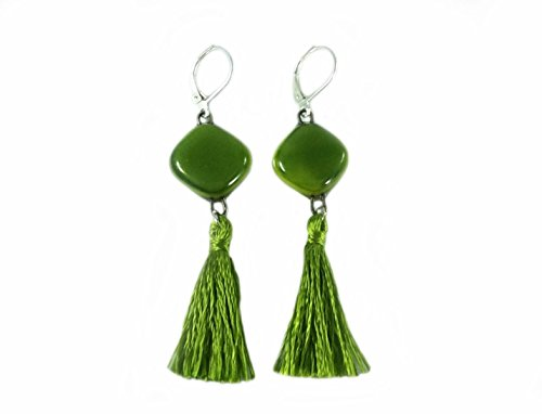 (Handmade Fused Glass Tassel Earrings | 925 Sterling Silver | Bright Green | Solid Color | Made in Costa Rica | by)