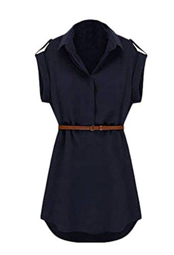 Vestidos Mujer Elegantes Vestido Verano Vestido Gasa Manga Corta De Solapa Vestidos De Camisa Vestidos Camiseros Mini Vestido Color Sólido Fashion Anchas Vestido De Verano Con Cinturón Dresses Señoras Azul Oscuro