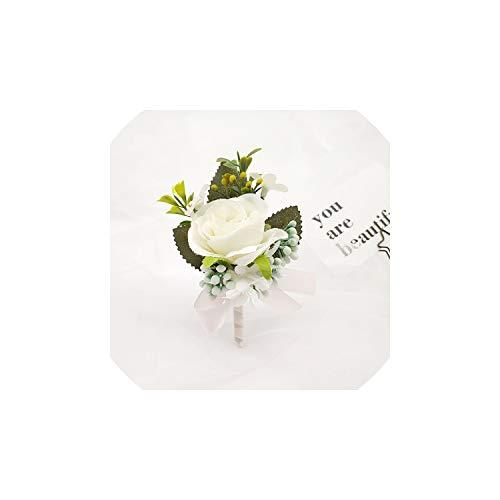 Ideal-Life Boutonniere Corsage Wedding Witness Groom Boutonniere Pin/Buttonhole Wrist Corsage Bracelet Bridesmaid Flowers Bracelet,4 Corsage