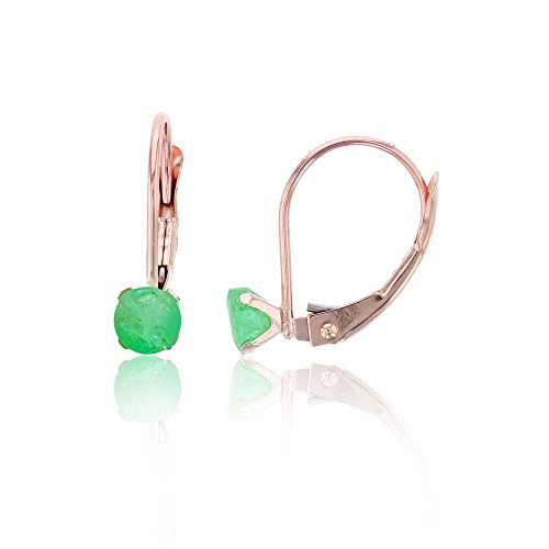 14K Rose Gold 4mm Round Emerald Martini Leverback Earring