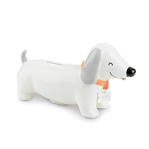 Baby Aspen Dachshund Puppy Dog Porcelain Piggy Bank, White/ Grey/ red ()