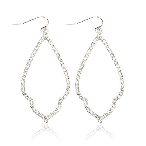 - MYS Collection Rhinestone Moroccan Floral Lightweight Open Hoop Dangles - Sparkly Geometric Cut-Out Drop Earrings Scalloped, Moroccan, Quatrefoil Clover (Moroccan Teardrop - Silver)