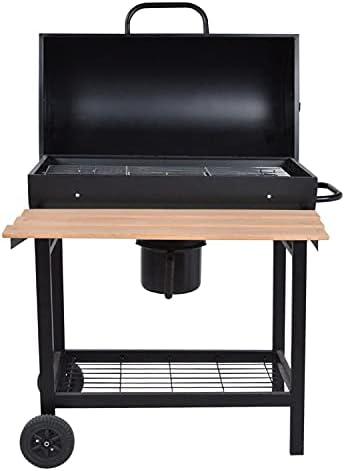 BENEFFITO LOFOTEN - Barbecue au Charbon de Bois Cylindrique - Capot de Fermeture - Tablette Frontale et Grille Inférieure - Poignée et roulettes