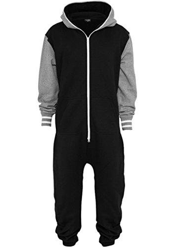 Urban Classics Men's TB629 College Sweat Jumpsuit XL/XXL Blk/Gry