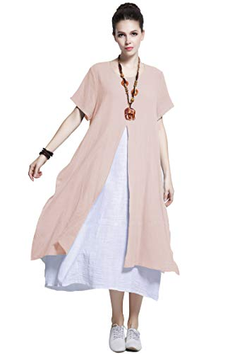 (Anysize Fake-Two-Piece Soft Linen Cotton Dress Spring Summer Plus Size Clothing Y110)