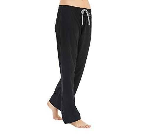 U2SKIIN Womens Cotton Pajama Pants, Comfortable Pajama Pants for Lounge Soft Lightweight Sleep Pj Bottoms for Women(Black, S)