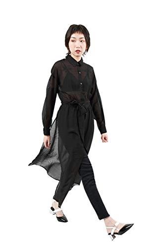 Sijux Robes De Perspective  Manches Longues  Manches Longues  Taille Haute pour Femmes avec Taille Haute Black