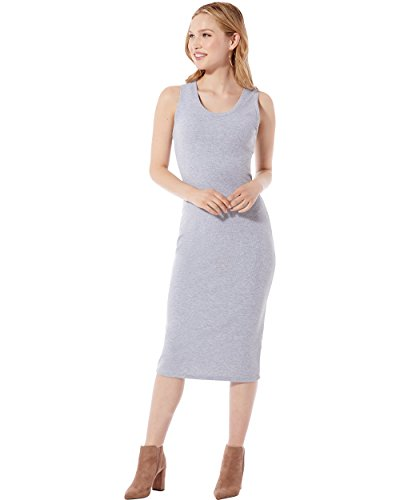 Coastal Rib Knit Tank Top Midi Dress (Heather Grey) Size S (Rib Knit Dress)