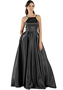Women's Halter A Line Satin Prom Dress Long Beaded Evening Formal Party Gown with Pockets