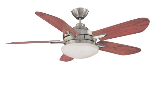 Kendal Lighting Ac12452 Sn Sirus 52 Inch Ceiling Fan  Satin Nickel Finish With Walnut Blades And Integrated Light Kit