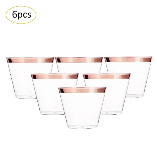 - 6 Pieces Plastic Disposable Wine Glasses,Clear Gold Rimmed Wine Cup for Parties/Wedding (Rose Gold, Stemless)