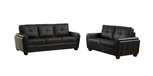 Furniture of America Mitcham Leatherette Sofa, Black