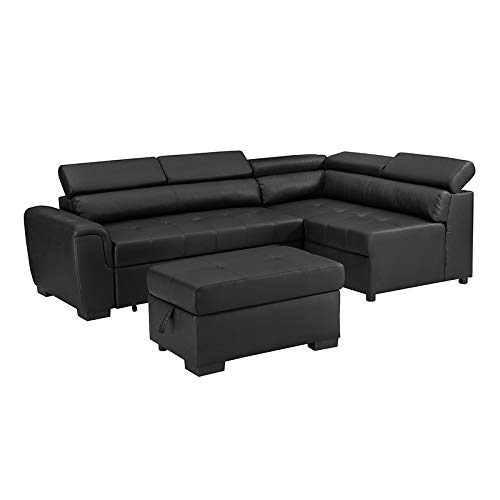 Bliss Brands Sectional Sofa with Chaise & Ottoman 3 Piece Set, Faux Leather Pull-Out Bed (Black), Great for Living Room & Office, 2019 Updated Model (Best Sectional Brands 2019)