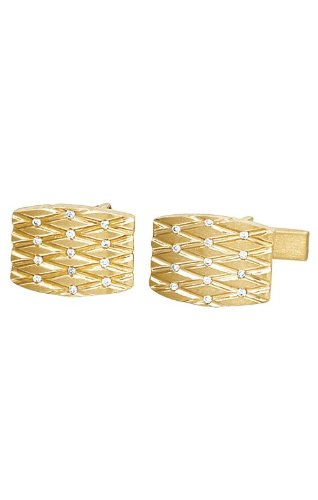 14K Yellow Gold Quilted Cufflinks with Diamonds-86686