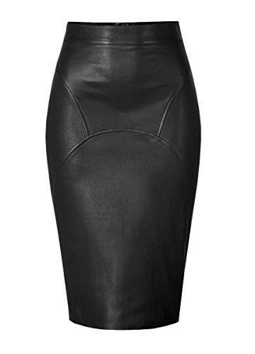 Genuine Leather Custom Made Sexy Lady Calf Length Pencil Skirt Office Lady Club Skirt #S32 Black