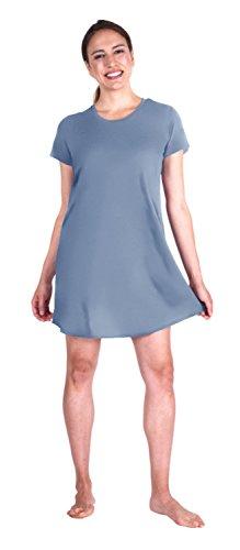 Wicking Scoop Neck Nightshirt (Large, Dusty-Periwinkle) (Periwinkle Nightgown)