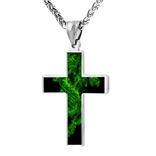 Gjghsj2 Cross Necklace Green Dragon Cross Pendant Religious Jewelry Sets Cross Chain Chokers for Men Women ()