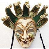 2365 NEWResin Full Face Men Venetian Jester Joker Masquerade Decorative (Mardi Gras Mask Pattern)