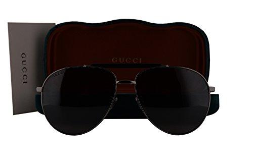 Gucci GG0014S Sunglasses Gray Black w/Blue Mirror Lens 001 GG - Amazon Gucci Sunglasses