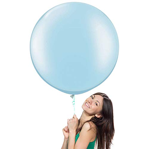 NYKKOLA 36 Inch Giant Jumbo Latex Balloon (Premium Helium Quality),6 Pack Big Balloons for Photo Shoot/Birthday/Wedding Party/Festival/Event/Carnival, Lightblue -