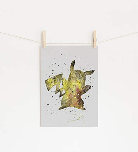 (Pikachu Pokemon Wall Art Print Room Decor)