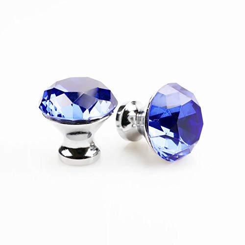 SCTD 8 PCS 30mm Crystal Drawer Knobs- K9 Crystal Diamond Shape Drawer Kitchen Cabinets Dresser Cupboard Wardrobe Pulls Handles (Blue) by SCTD (Image #6)