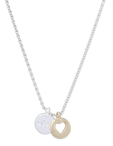 Howards 16  Two Tone Love   Heart Pendant Necklace With 2  Adjustable Chain