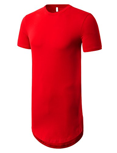 JD Apparel Mens Basic Hipster Hip Hop Elong Crewneck T-shirt L Red (Best Mens Hipster Clothing Websites)
